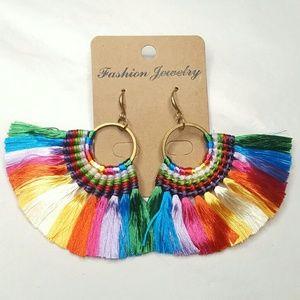 Jewelry - Dangle Rainbow Fan Tassel Earrings